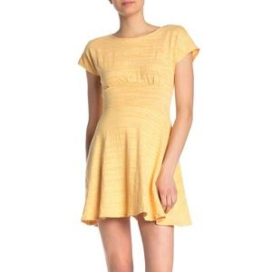 NWT BeBop Slub Knit Fit Flare Skater Dress Yellow